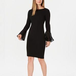 Calvin Klein Chiffon Bell Sleeve Dress Size14